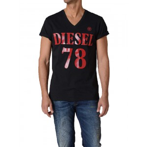 Diesel black tshirt V neck and logo