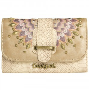 Desigual cream color Organizer wallet for women