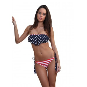 swimsuit dagadom bandeau with american flag print
