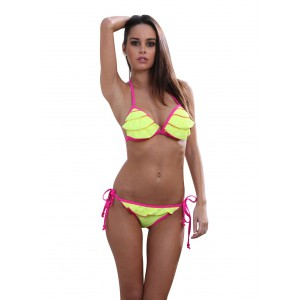 Dagadom yellow swimsuit with ruffles