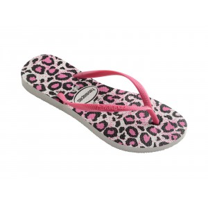 havaianas flip flops slim animals white and pink