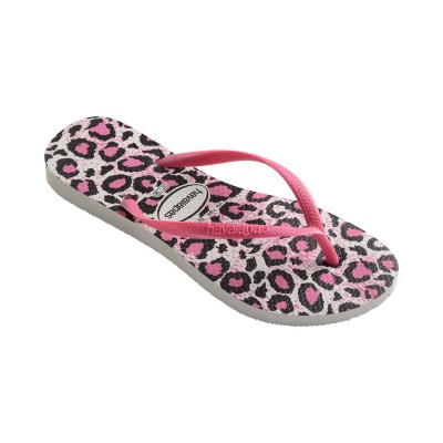 havaianas tong slim animal blanc et rose