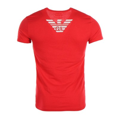 Emporio Armani t-shirt rouge col v manches courtes