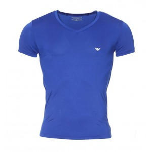 Emporio armani tee-shirt v neck blue slim fit