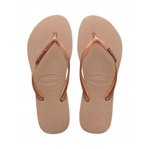 Tong havaianas  slim logo metallic rose gold