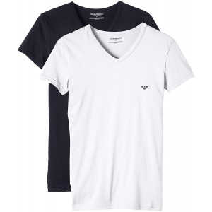 emporio armani pack  of 2 t-shirts v neck navy and white