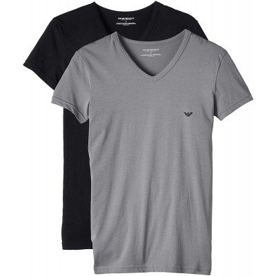 emporio armani pack  of 2 t-shirts v neck grey and black