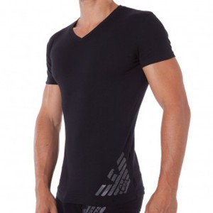 Emporio Armani black tshirt v neck logo lateral eagle