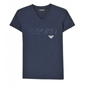 Armani navy t-shirt v neck short sleeve