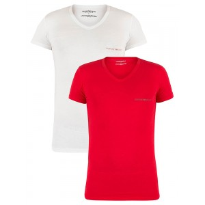 Emporio Armani Mehrfarbig 2 Pack Chest Logo V-Neck T-Shirts