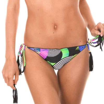 Printed string bikini with pompom accents
