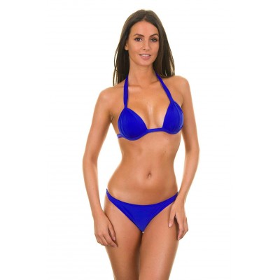 A fixed triangle bikini with dark blue shells