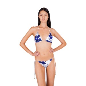 Aguaclara swimsuit with hibiscus print