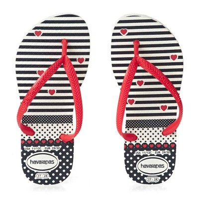 Havaianas flip flop for girls navy and red stripes